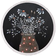 Wake Up And See The Flowers Round Beach Towel