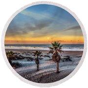 Wake Up For Sunrise In California Round Beach Towel