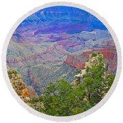 Walhala Overlook On North Rim Of Grand Canyon-arizona  Round Beach Towel
