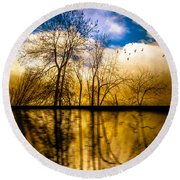Walk Along The River Round Beach Towel by Bob Orsillo