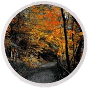 Walk In Golden Fall Round Beach Towel