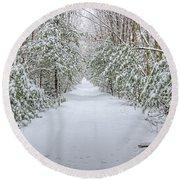 Walk In Snowy Woods Round Beach Towel