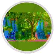 Walk In The City Past Blue Houses Staircases And Shade Trees Montreal Summer Scene Carole Spandau Round Beach Towel