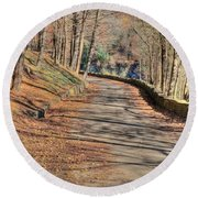 Walk In The Park Round Beach Towel
