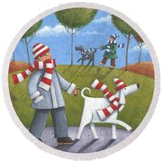 Walk In The Park Round Beach Towel by Peter Adderley