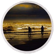 Walk In The Surf Colored Round Beach Towel