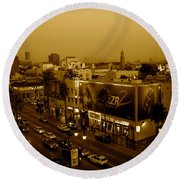 Walk Of Fame Hollywood In Sepia Round Beach Towel
