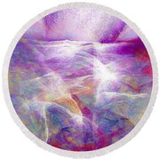Walk On Water - Abstract Art Round Beach Towel by Jaison Cianelli