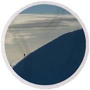 Walkers Climbing Snowy Ridge Of Sgorr Round Beach Towel