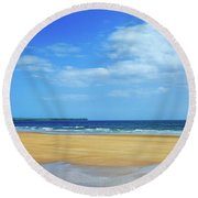 Walkers On The Strand In Tramore Round Beach Towel