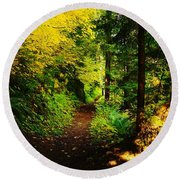 Walking An Autumn Path Round Beach Towel