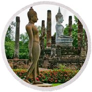 Walking And Sitting Buddha Images At Wat Sa Si In Sukhothai Historical Park-thailand Round Beach Towel
