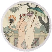 Walking Around Naked As Much As We Can Round Beach Towel by Joseph Kuhn-Regnier