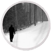 Walking In A Winter Wonderland Round Beach Towel