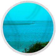 Walking In The Water At Isle Of Palms Round Beach Towel