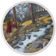 Walking In The Woods One Day Round Beach Towel
