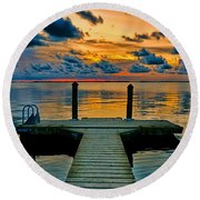 Walking Into The Sunset Round Beach Towel