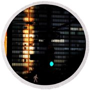 Walking Man - Architecture Of New York City Round Beach Towel