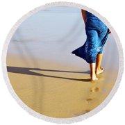 Walking On The Beach Round Beach Towel