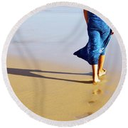 Walking On The Beach Round Beach Towel