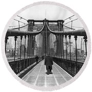 Walking On The Brooklyn Bridge Round Beach Towel