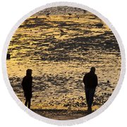 Strangers On A Shore - Walking Silhouettes Round Beach Towel