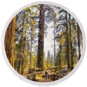 Walking Small In The Tall Forest Round Beach Towel