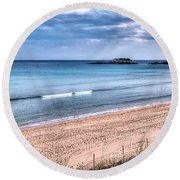 Walking The Beach On A Peaceful Morning Round Beach Towel