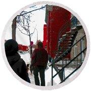 Walking The Dog Through Snowy Streets Of Montreal Urban Winter City Scenes Carole Spandau Round Beach Towel