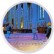 Walking The Indoor Labyrinth In Grace Cathedral In San Francisco-california Round Beach Towel