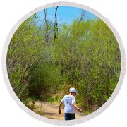 Walking The Ox Bow 2 Round Beach Towel