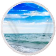 Walking The Shore - Extended Round Beach Towel by Steven Santamour