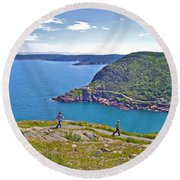 Walking Trails Everywhere In Signal Hill National Historic Site In St. John's-nl  Round Beach Towel