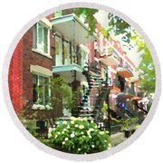 Walking Verdun In Summer Winding Staircases And Pathways Urban Montreal City Scenes Carole Spandau Round Beach Towel