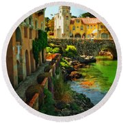 Walkway Along The River - Cascais Round Beach Towel