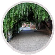 Walkway By The River Round Beach Towel