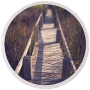Walkway Through The Reeds Appalachian Trail Round Beach Towel by Edward Fielding