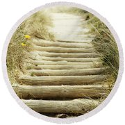 Walkway To Beach Round Beach Towel