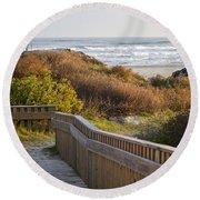 Walkway To The Beach Round Beach Towel