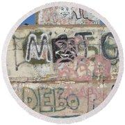 Wall Art Graffiti Concrete Walls Casa Grande Arizona 2004 Round Beach Towel