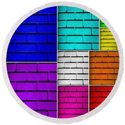Wall Color Wall Round Beach Towel by Semmick Photo