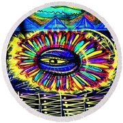 Wall Flower 30x30 Round Beach Towel