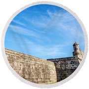 Wall Of Cartagena Colombia Round Beach Towel