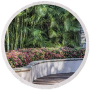Wall Of Flowers Round Beach Towel