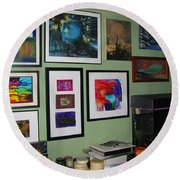 Wall Of Framed Round Beach Towel