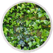 Wall Of Ivy Round Beach Towel