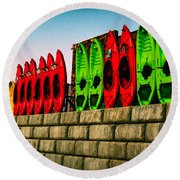Wall Of Kayaks Round Beach Towel