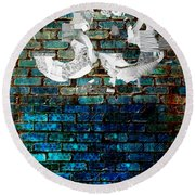 Wall Of Knowlogy Abstract Art Round Beach Towel