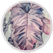 Wall Of Leaves Round Beach Towel