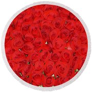 Wall Of Red Roses Round Beach Towel